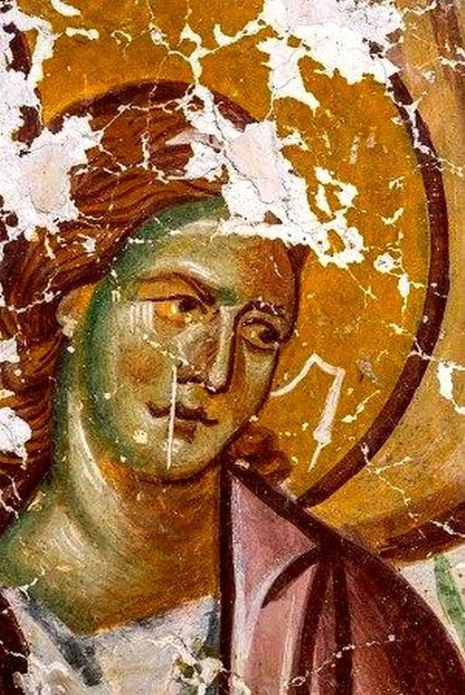 Ангел Господень. Фреска Успенского храма в селе Лыхны, Абхазия. Начало XIV века.