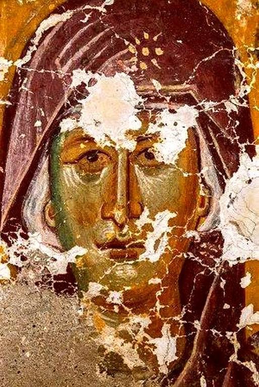 Лик Пресвятой Богородицы. Фреска Успенского храма в селе Лыхны, Абхазия. Начало XIV века.