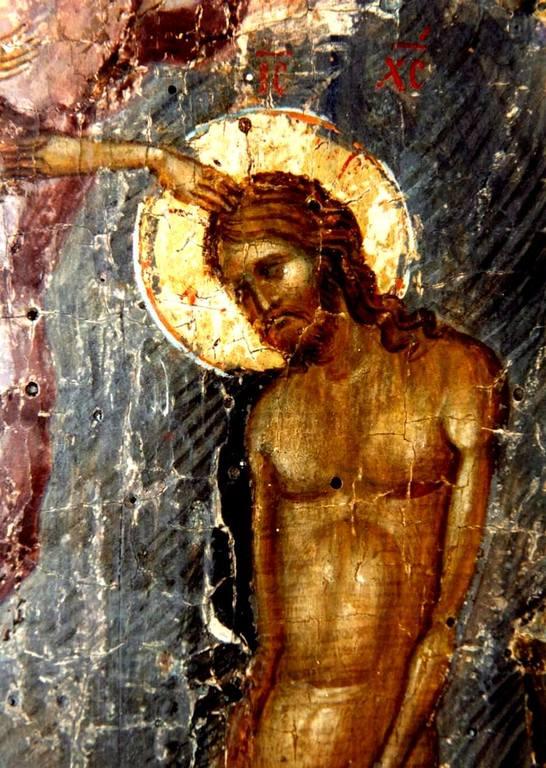 Крещение Господне. Византийская икона XIV века. Фрагмент.
