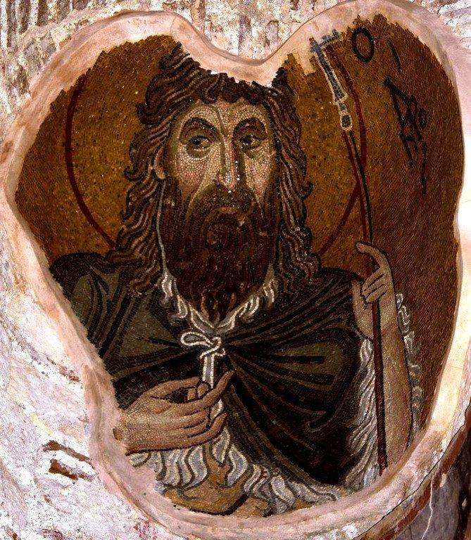 Святой Иоанн Предтеча. Мозаика монастыря Дафни близ Афин, Греция. XI век.
