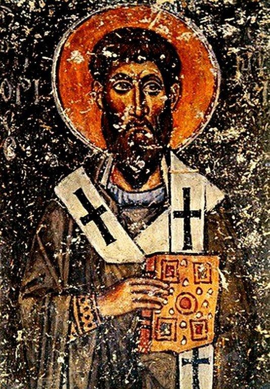 Святитель Григорий, Епископ Нисский. Фреска церкви Панагии Халкеон в Салониках, Греция. 1028 год.