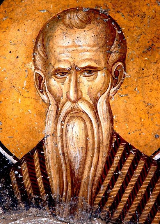 Святой Преподобный Павел Фивейский. Фреска монастыря Панагии Олимпиотиссы в Элассоне, Греция. Конец XIII века.