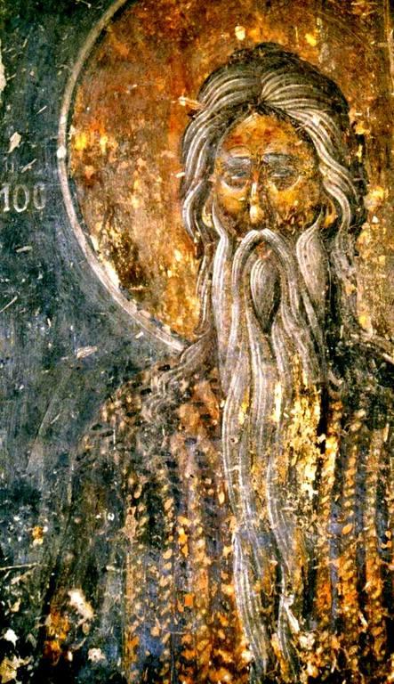Святой Преподобный Павел Фивейский. Фреска церкви Святого Георгия Грамматику в Верии, Греция. Около 1380 года.