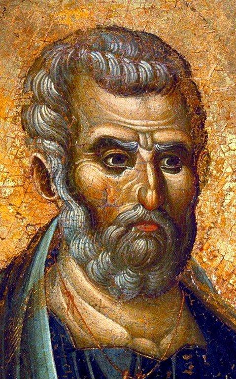 Святой Апостол Пётр. Икона. Византия, вторая половина XIII века. Лик Святого.