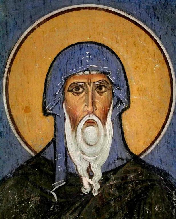 Святой Преподобный Антоний Великий. Фреска церкви Панагии Форвиотиссы (Панагии Асину) в Никитари, Кипр. 1105 - 1106 годы.