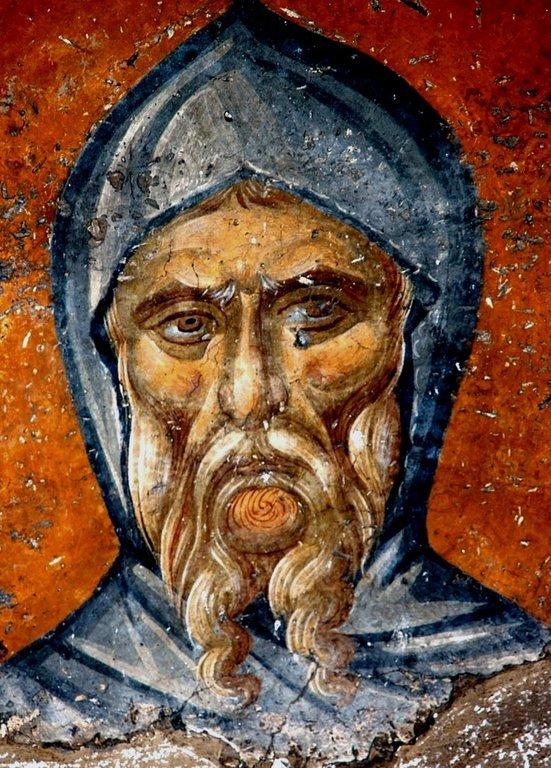 Святой Преподобный Антоний Великий. Фреска монастыря Панагии Олимпиотиссы в Элассоне, Греция. Конец XIII века.