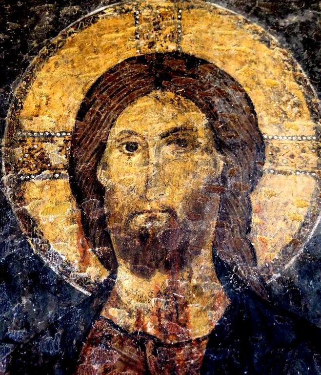 Лик Спасителя. Фреска церкви Святого Иоанна Златоуста в Гераки, Греция. Конец XII - начало XIII веков.