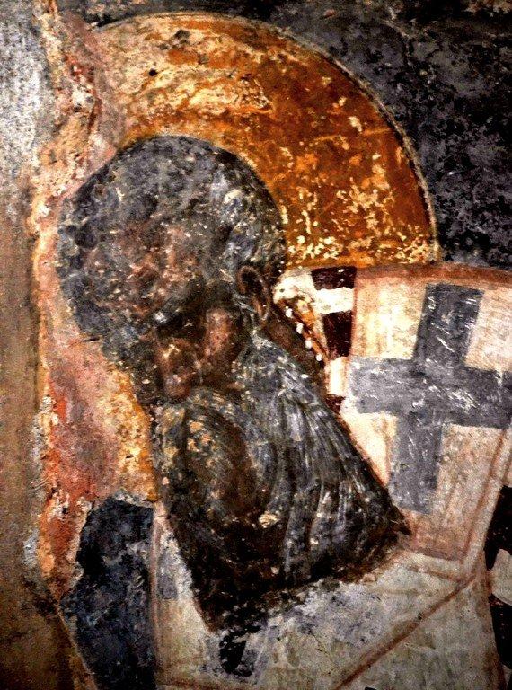 Святитель Григорий Богослов. Фреска церкви Богородицы Перивлепты в Мистре, Греция. XIV век.