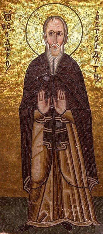 Святой Преподобный Феодор Студит, Исповедник. Мозаика монастыря Осиос Лукас, Греция. 1030 - 1040-е годы.