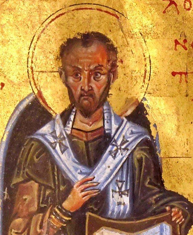 Святитель Иоанн Златоуст. Византийская миниатюра XI века. Фрагмент.