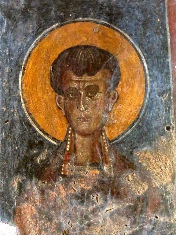 Лик Святого. Фреска церкви Архангела Михаила в Племиниане на Крите. 1327 - 1328 годы. Иконописец Иоаннис Пагоменос.