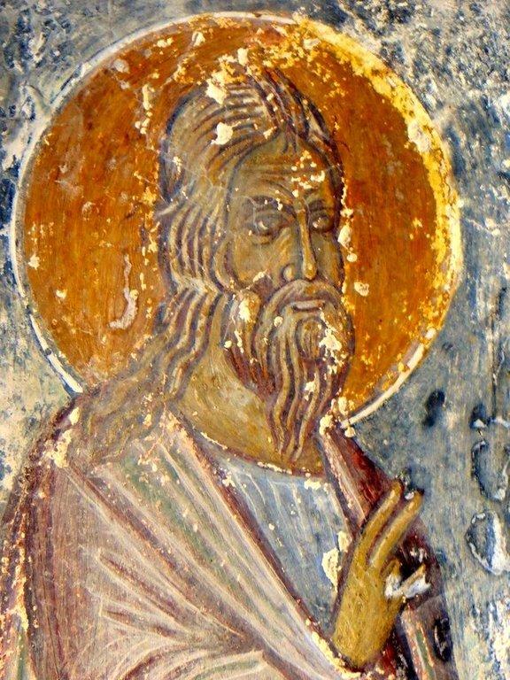 Святой. Фреска церкви Панагии Скафидиани в Продроми на Крите. 1347 год. Иконописец Иоаким.