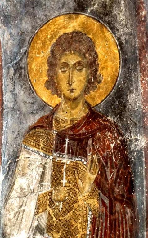 Святой Мученик. Фреска церкви Святого Иоанна Златоуста в Гераки, Греция. Конец XII - начало XIII веков.