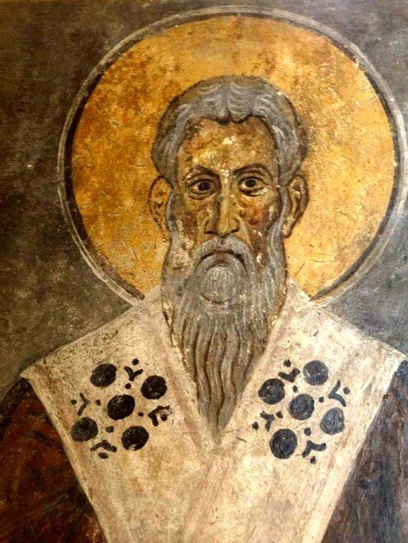 Лик Святителя. Фреска церкви Святого Иоанна Златоуста в Гераки, Греция. Конец XII - начало XIII веков.
