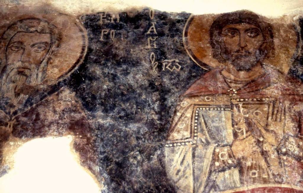 Святые Бессребреники, Мученики и Чудотворцы Кир и Иоанн. Фреска церкви Святого Созонта в Гераки, Греция.