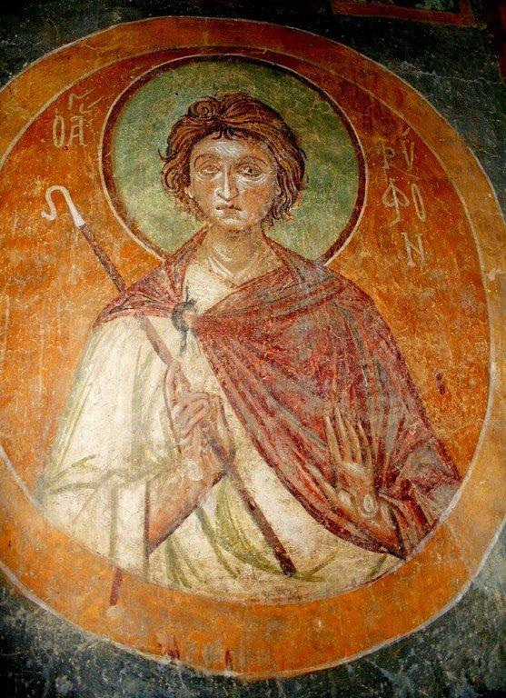 Святой Мученик Трифон. Фреска церкви Святого Пантелеимона в Нерези близ Скопье, Македония. 1164 год.