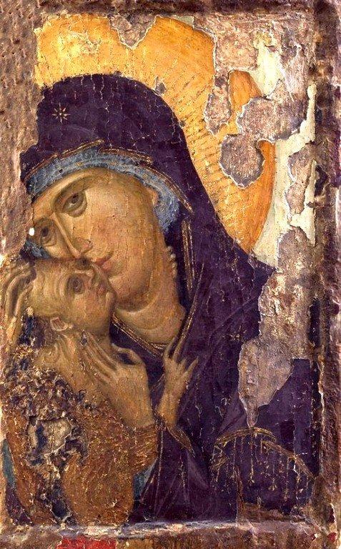 Богоматерь Елеуса. Икона второй половины XIV века. Сербский монастырь Хиландар на Афоне.