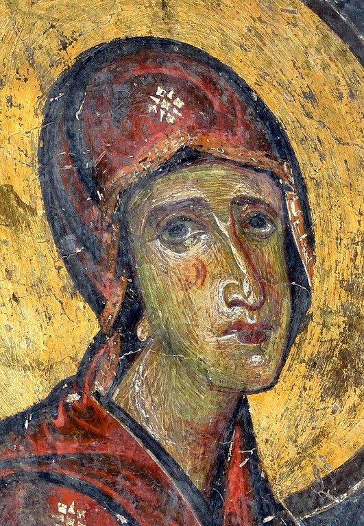 Богоматерь Параклесис. Фреска церкви Святых Врачей (Космы и Дамиана) в Кастории, Греция. XII век.