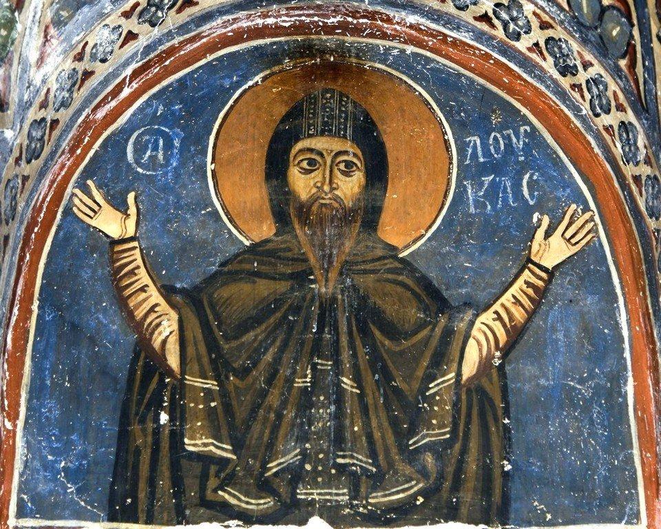 Святой Преподобный Лука Елладский. Фреска монастыря Осиос Лукас, Греция. 1030 - 1040-е годы.