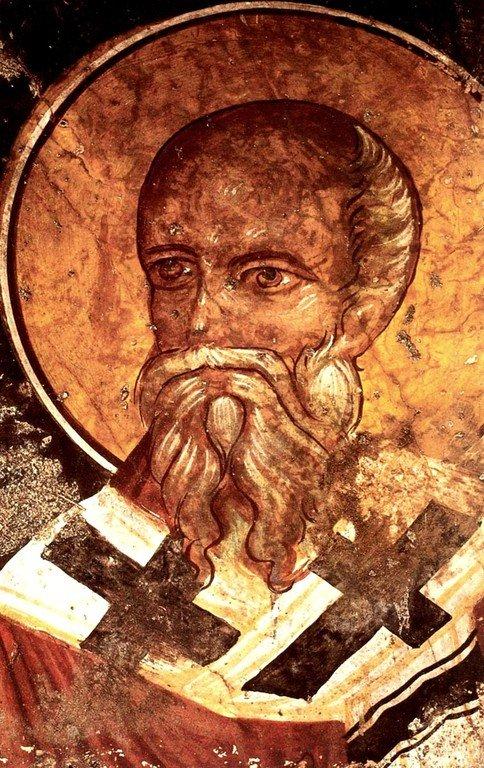 Священномученик Харалампий, Епископ Магнезийский. Фреска церкви Святых Феодора и Харалампия в Спили на Крите.