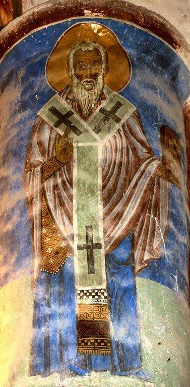Священномученик Власий, Епископ Севастийский. Фреска церкви Христа Антифонитиса на Кипре. XII век.