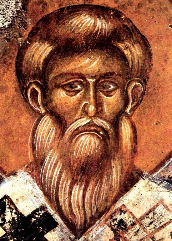 Священномученик Власий, Епископ Севастийский. Фреска церкви Святой Ирины в Мурне на Крите.