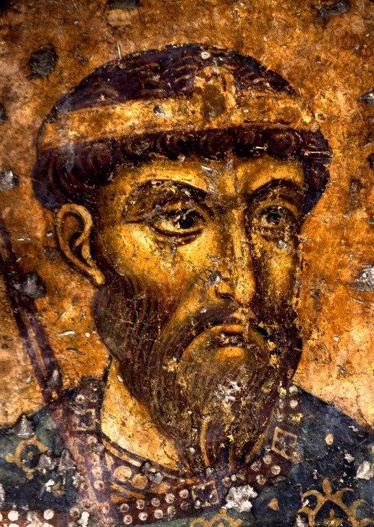 Святой Великомученик Феодор Тирон. Фреска церкви Панагии Космосотиры в Феррах, Греция. XII век.