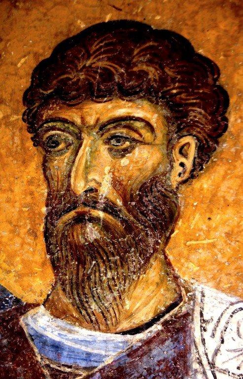 Святой Великомученик Феодор Тирон. Фреска церкви Святого Пантелеимона в Нерези близ Скопье, Македония. 1164 год.