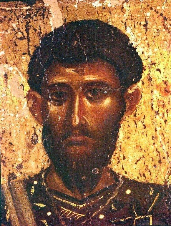 Святой Великомученик Феодор Тирон. Икона. Византия, около 1200 года. Монастырь Святого Иоанна Богослова на острове Патмос, Греция. Фрагмент.