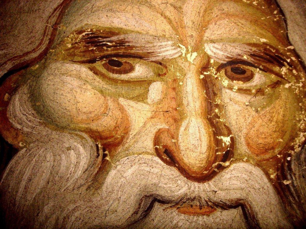 Лик Святого. Фреска храма Протатон (Протат) на Афоне. Конец XIII века. Иконописец Мануил Панселин.