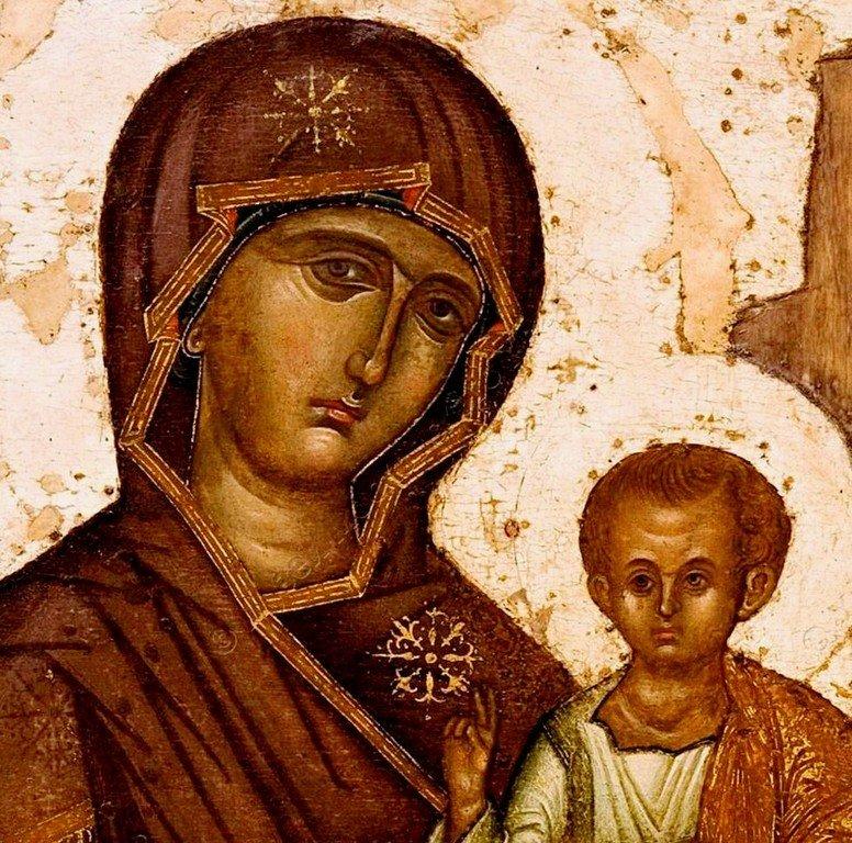 Богоматерь Одигитрия. Икона. Византия, XV век. Фрагмент.