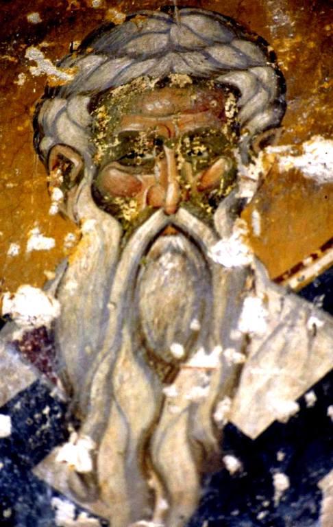Святой Преподобный Агафон, Папа Римский. Фреска Старой Митрополии в Верии, Греция.