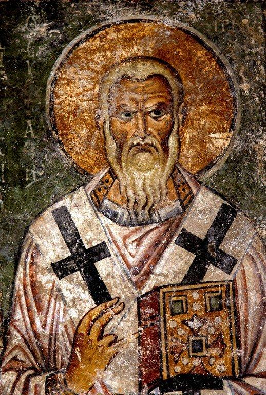 Святитель Евстафий, Архиепископ Антиохийский. Фреска собора Святой Софии в Охриде, Македония. 1037 - 1056 годы.