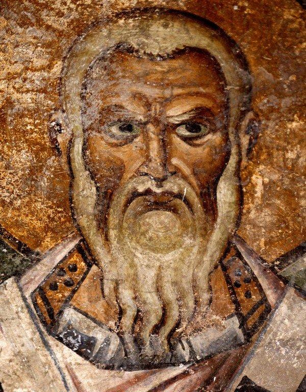Святитель Евстафий, Архиепископ Антиохийский. Фреска собора Святой Софии в Охриде, Македония. 1037 - 1056 годы. Фрагмент.