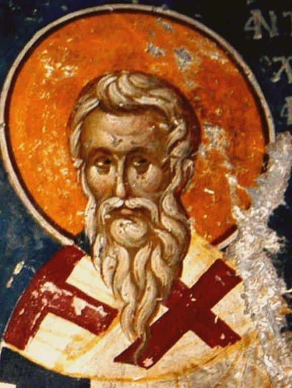 Святитель Евстафий, Архиепископ Антиохийский. Фреска церкви Святого Николая Орфаноса в Салониках, Греция. 1310 - 1315 годы.