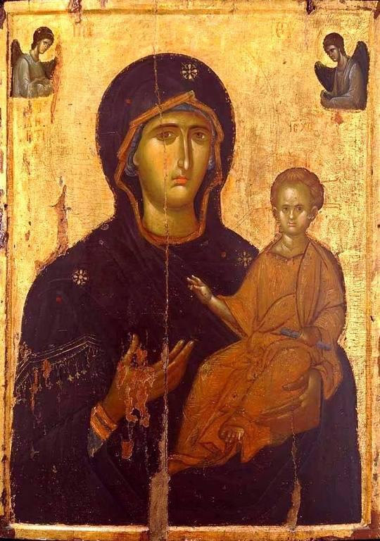 Богоматерь Одигитрия. Икона. Византия, рубеж XIII - XIV веков. Монастырь Святого Иоанна Предтечи близ Серр, Греция.