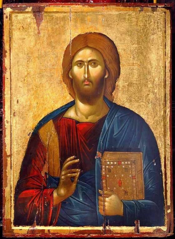 Христос Пантократор. Икона. Византия, рубеж XIII - XIV веков. Монастырь Святого Иоанна Предтечи близ Серр, Греция.