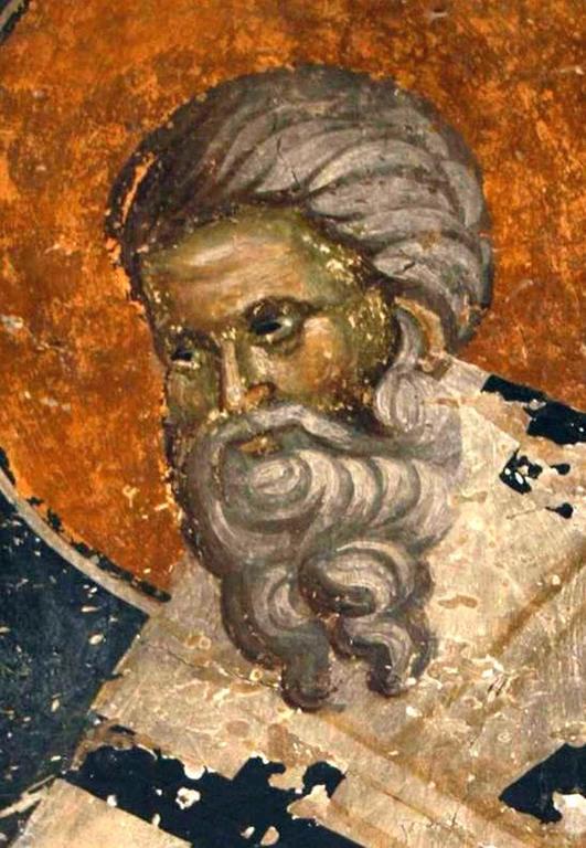 Священномученик Поликарп, Епископ Смирнский. Фреска церкви Святого Власия в Верии, Греция. Начало XIV века.