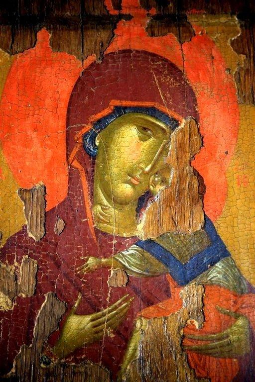 Богоматерь Елеуса. Византийская икона. Византийский музей в Верии, Греция. Фрагмент.