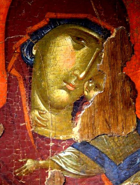 Богоматерь Елеуса. Византийская икона. Византийский музей в Верии, Греция. Лики.