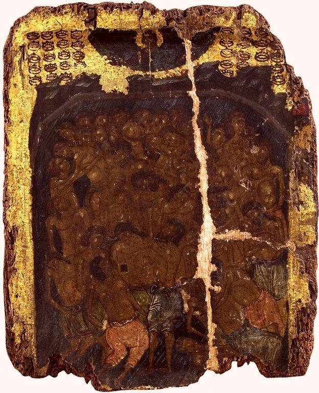 Святые Сорок Мучеников Севастийских. Икона XIV века в сербском монастыре Хиландар на Афоне.