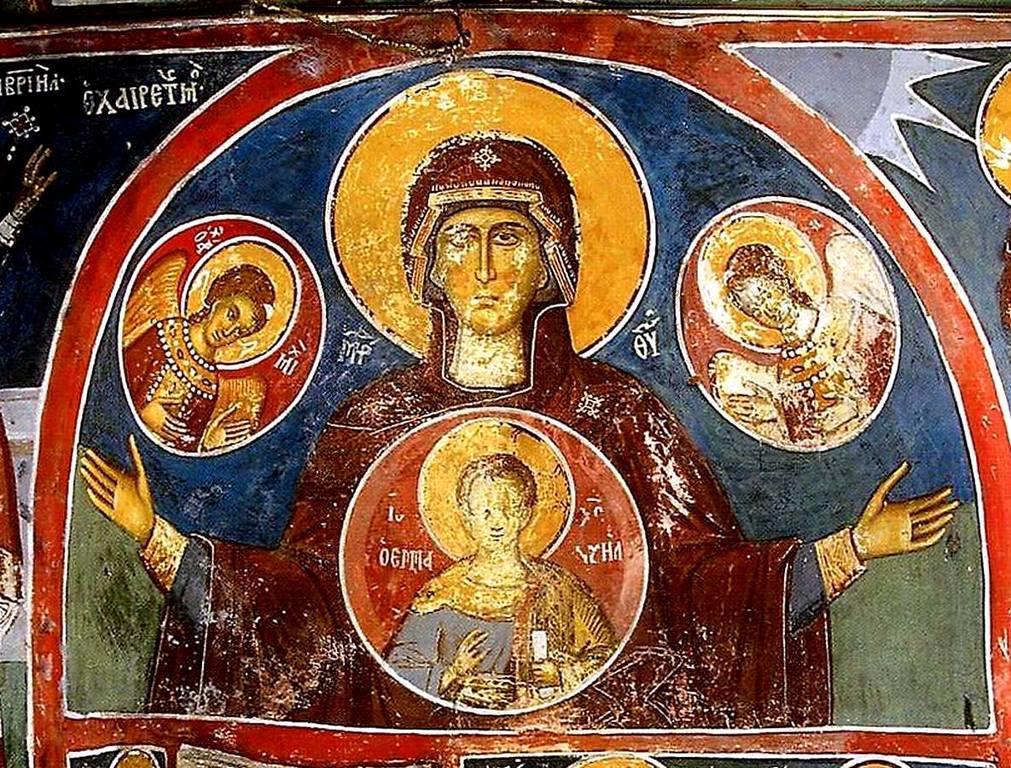 Богоматерь Оранта. Фреска монастыря Сретения Господня в Метеорах, Греция. 1366 - 1367 годы.