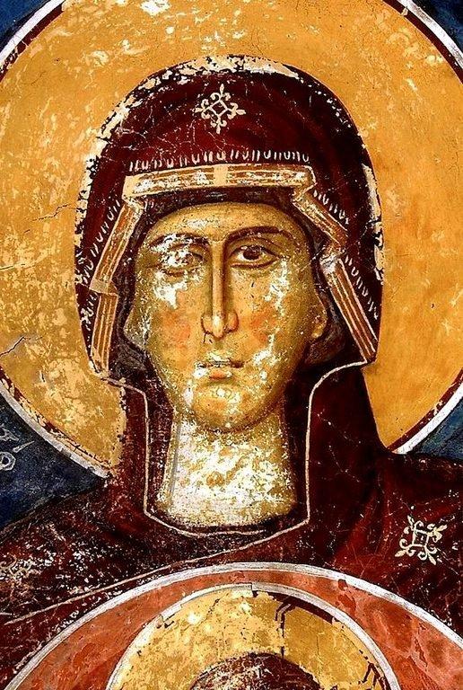 Богоматерь Оранта. Фреска монастыря Сретения Господня в Метеорах, Греция. 1366 - 1367 годы. Фрагмент.