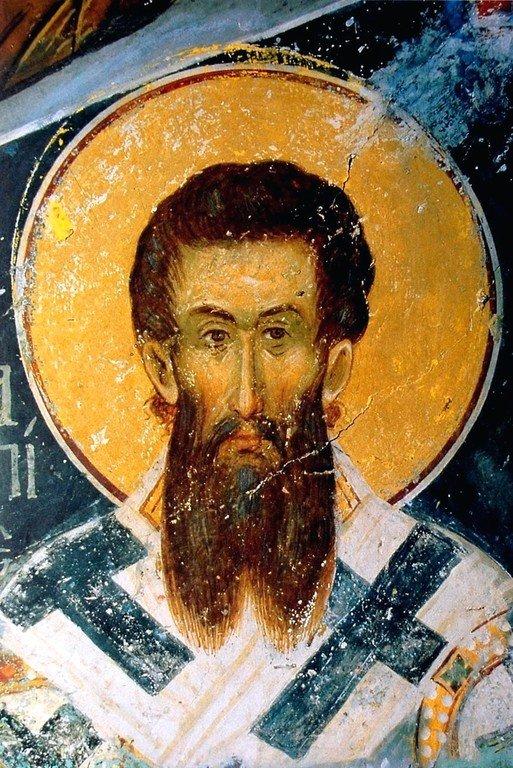 Святитель Григорий Палама, Архиепископ Фессалонитский. Фреска монастыря Ватопед на Афоне. 1371 год.