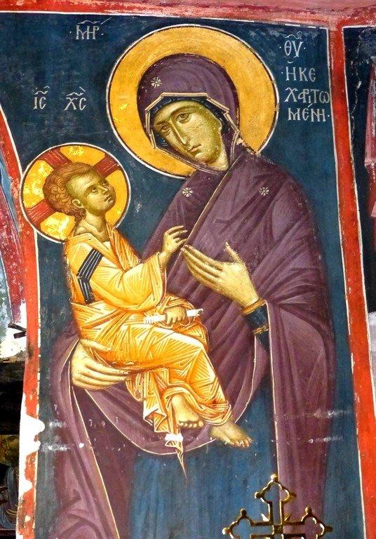 Богоматерь Кехаритомени (Благодатная). Фреска монастыря Святого Иоанна Предтечи близ Серр, Греция. XIV век.
