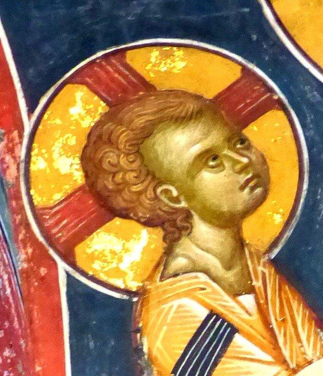 Богоматерь Кехаритомени (Благодатная). Фреска монастыря Святого Иоанна Предтечи близ Серр, Греция. XIV век. Фрагмент.