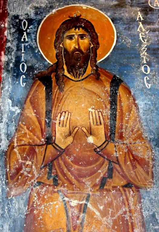 """Святой Преподобный Алексий, человек Божий. Фреска церкви Святого Николая """"тис стегис"""" (""""под крышей"""") на Кипре."""
