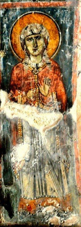 Святая Мученица Фотина Самаряныня. Фреска церкви Святого Георгия Сфакиотиса на Крите. 1390 год.