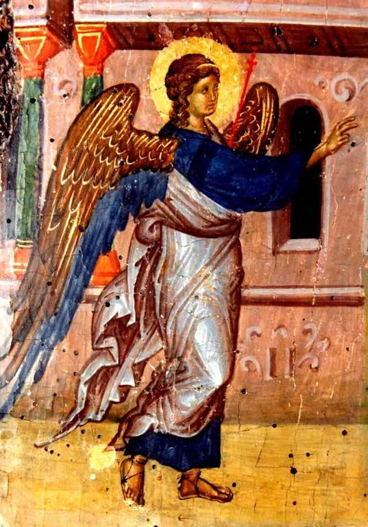 Благовещение Пресвятой Богородицы. Византийская икона XIV века. Фрагмент.