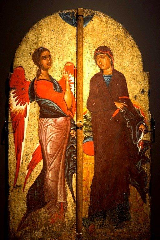 Благовещение Пресвятой Богородицы. Царские Врата. Византийский музей в Кастории, Греция.